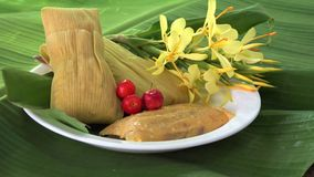 Tamal,Tamale,Tamales a Latin American traditional plate stock footage