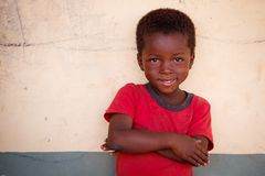 TAMALE, GHANA � MARCH 22: Unidentified young african boy  pose w Royalty Free Stock Photo