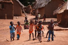 TAMALE, GHANA � MARCH 24: Unidentified young African kids playin. G together in village on March 24, 2014 in Tamale, Ghana. Ghana is one of the most popular stock image