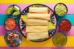 Tamale met graanblad en sausen guacamole stock foto's