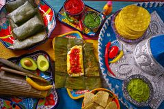 Tamale Mexican food recipe with banana leaves. Steamed Royalty Free Stock Images