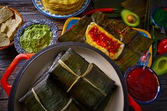 Tamale Mexican recipe with banana leaves. Tamale Mexican food recipe with banana leaves steamed Stock Image