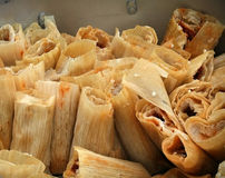Tamales. Big batch of tamales in a pot Royalty Free Stock Photos