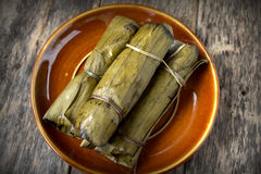 Tamales in banana leaf Royalty Free Stock Images