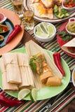 Tamales de poulet avec le Salsa vert Photos libres de droits