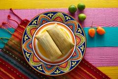 Tamales mexicanos del tamal de las hojas del maíz Imagen de archivo