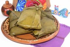 Tamales mexicanos tradicionais dos estados de Oaxaca e de Chiapas para a celebração de Candelaria Day Fotos de Stock Royalty Free