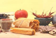 Tamales and Spices. Tamales With Beans and Spices on Yellow Background Royalty Free Stock Image