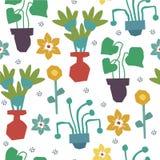 Tamanco com as plantas home no potenciômetro para a decoração home Flores abstratas da colagem ilustração stock