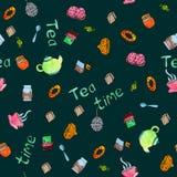 Tamanco sem emenda da aquarela do tempo do chá, imagem do vetor Fotos de Stock Royalty Free