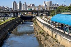 Tamanduateà flod och bussfil Arkivbild