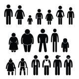 Tamanho Cliparts da idade das crianças da mulher do homem do caráter dos povos ilustração stock