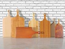 Tamanhos da variedade das placas de corte de madeira Fotos de Stock Royalty Free
