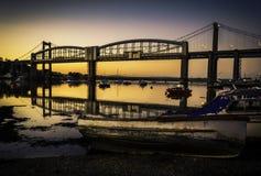 Tamar Bridge en la puesta del sol - Plymouth Foto de archivo libre de regalías