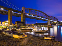 Tamar Bridges at Night Saltash Cornwall Stock Photography