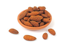 Tamari Flavored Almonds In A Terracotta Dish Royalty Free Stock Photography