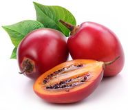 Tamarillo fruits with leaves Stock Images