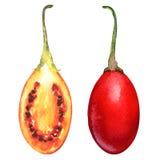 Tamarillo fruits with slice on white background Royalty Free Stock Photos