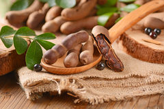 Tamarind fruit on the table Royalty Free Stock Photo