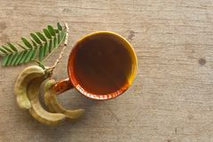 Tamarind juice. Tamarind is a herbal anti-diabetic. Gallstones in the urinary tract And reduce weight royalty free stock photo