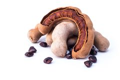 Tamarind. Sweet ripe  and seeds with isolated on a white background. Closeup Stock Photography