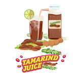 Tamarind water. juice with letters design - stock illustration