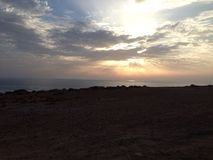 Tamaris海滩dar bouazza 免版税图库摄影
