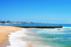 Tamariz海滩在爱都酒店,葡萄牙 库存图片
