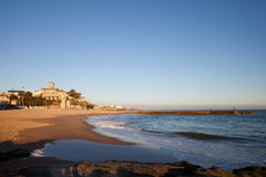 Tamariz Beach in Estoril at Sunset Royalty Free Stock Images