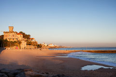 Tamariz Beach in Estoril at Sunset Royalty Free Stock Photography
