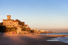 Tamariz Beach in Estoril at Sunset Royalty Free Stock Photo