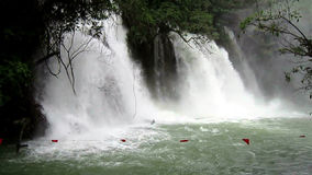 Tamasopo Waterfalls. Video of the tamasopo waterfalls in san luis potosi mexico.  The water level is very high after september rains.  Unsafe for swimming stock video
