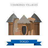 Tamberma Villages in Togo Flat historic web vector Stock Image