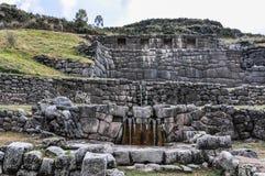 Tambomachay的废墟的看法在库斯科,秘鲁 库存图片