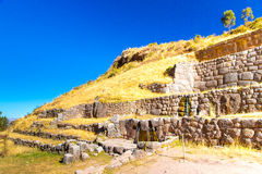 Tambomachay -archaeological site in Peru, near Cuzco. Devoted to cult of water. Here he loved to rest  great Inca Royalty Free Stock Photos