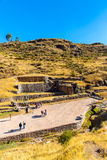 Tambomachay -archaeological site in Peru, near Cuzco. Devoted to cult of water. Here he loved to rest  great Inca Stock Photography