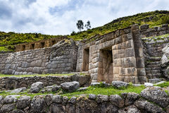Tambomachay ruins, near Cuzco, Peru. Ancient Inca wall in the Tambomachay ruins, near Cuzco, Peru royalty free stock photo