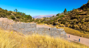 Tambomachay - sito archeologico nel Perù, vicino a Cuzco. Votato a culto di acqua Immagini Stock