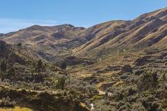 Tambomachay valley peruvian Andes Cuzco Peru. Tambomachay valley view from Puca Pucara fortress in the peruvian Andes at Cuzco Peru royalty free stock photos