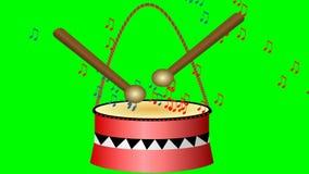 Tambor animado con los palillos y las notas musicales Pequeño tambor rojo lindo en la pantalla verde Introducción de la música, i stock de ilustración