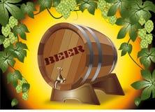 Tambor de cerveja de madeira hops Foto de Stock Royalty Free