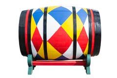 Tambor de madeira colorido isolado no fundo branco Foto de Stock