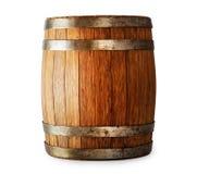 Tambor de madeira do carvalho isolado no fundo branco Fotos de Stock