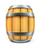 Tambor de madeira para o armazenamento do vinho e da cerveja isolado Fotografia de Stock Royalty Free