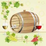 Tambor de vinho com uvas Fotos de Stock Royalty Free