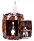Tambor de vinho como a tabela Imagens de Stock Royalty Free