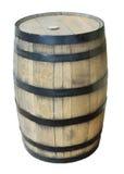 Tambor de vinho da madeira de carvalho no fundo branco Imagens de Stock Royalty Free