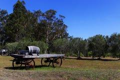 Tambor de vinho do carvalho em um carro de madeira velho Fotos de Stock Royalty Free