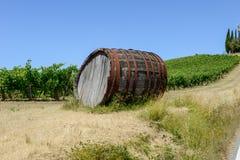 Tambor de vinho do Chianti em um Wineyard em Toscânia imagem de stock