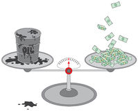 Tambor e dinheiro de petróleo em escalas Imagens de Stock Royalty Free